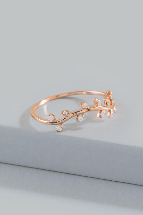 Gabi Rose Gold Leaf Ring