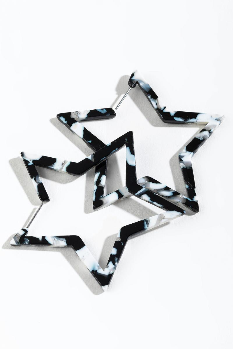 Lindsay Star Hoops- Black/White