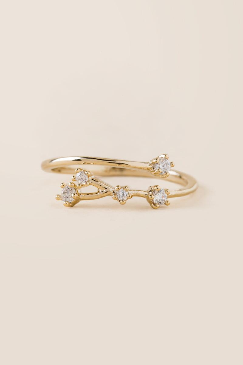 Cancer Constellation Ring-  gold-cl