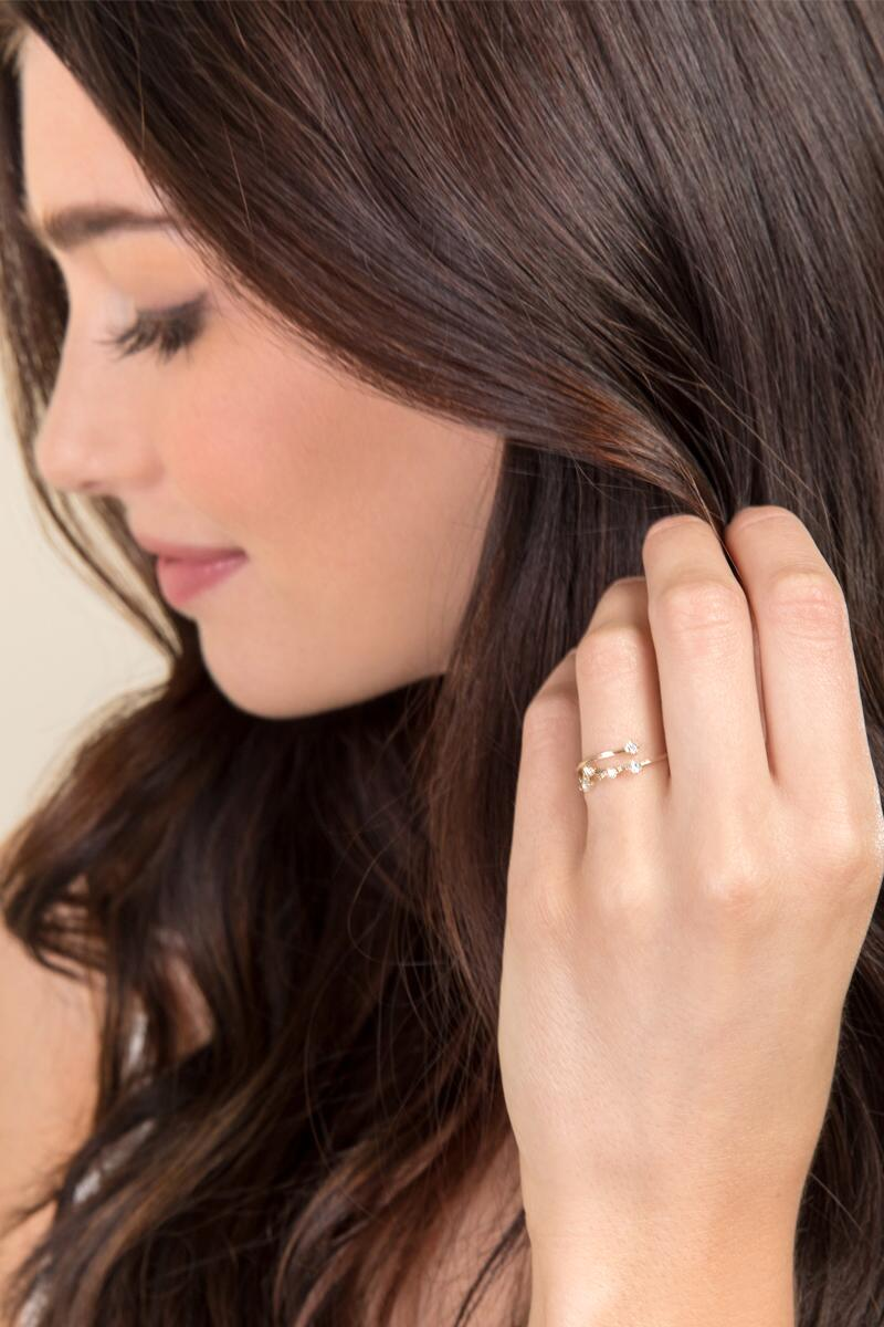 Cancer Constellation Ring-  gold-clmodel