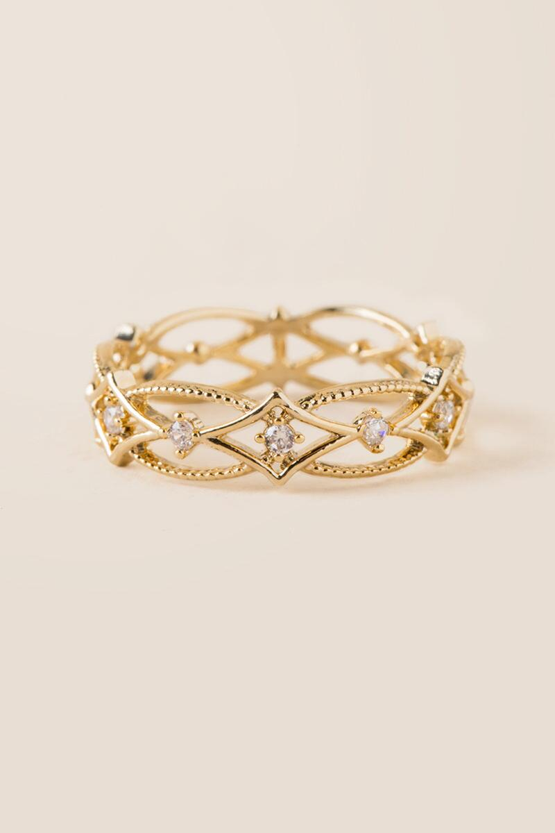 Mia Crystal Filigree Ring-  gold-cl