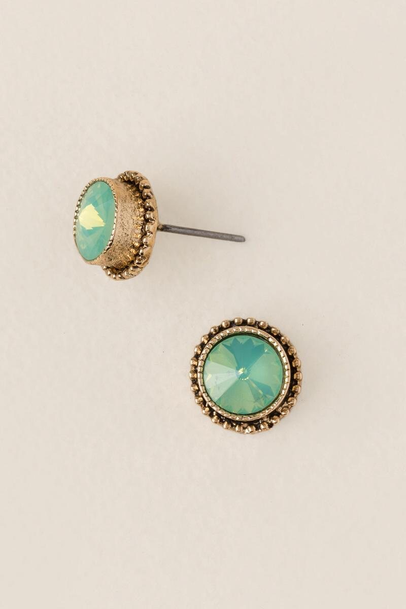 Floress Round Stud Earring In Mint
