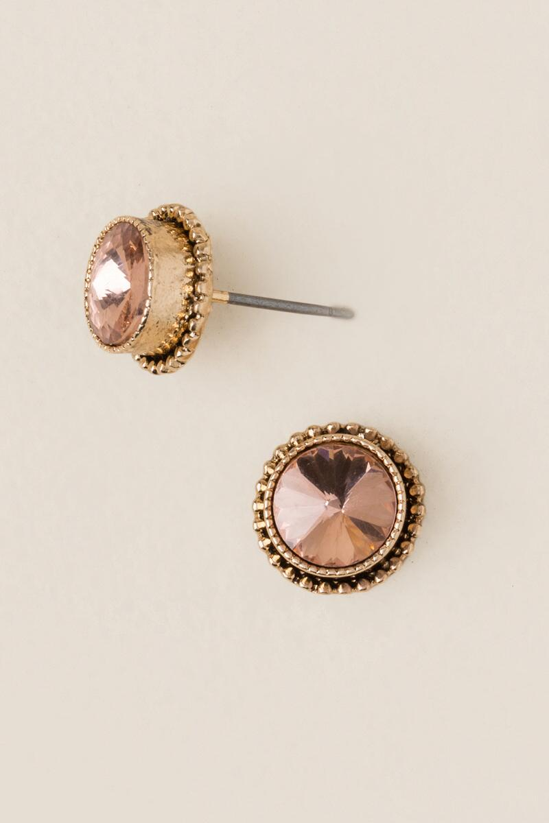 Floress Round Set Up Stud Earrings in Champagne-  cham-cl