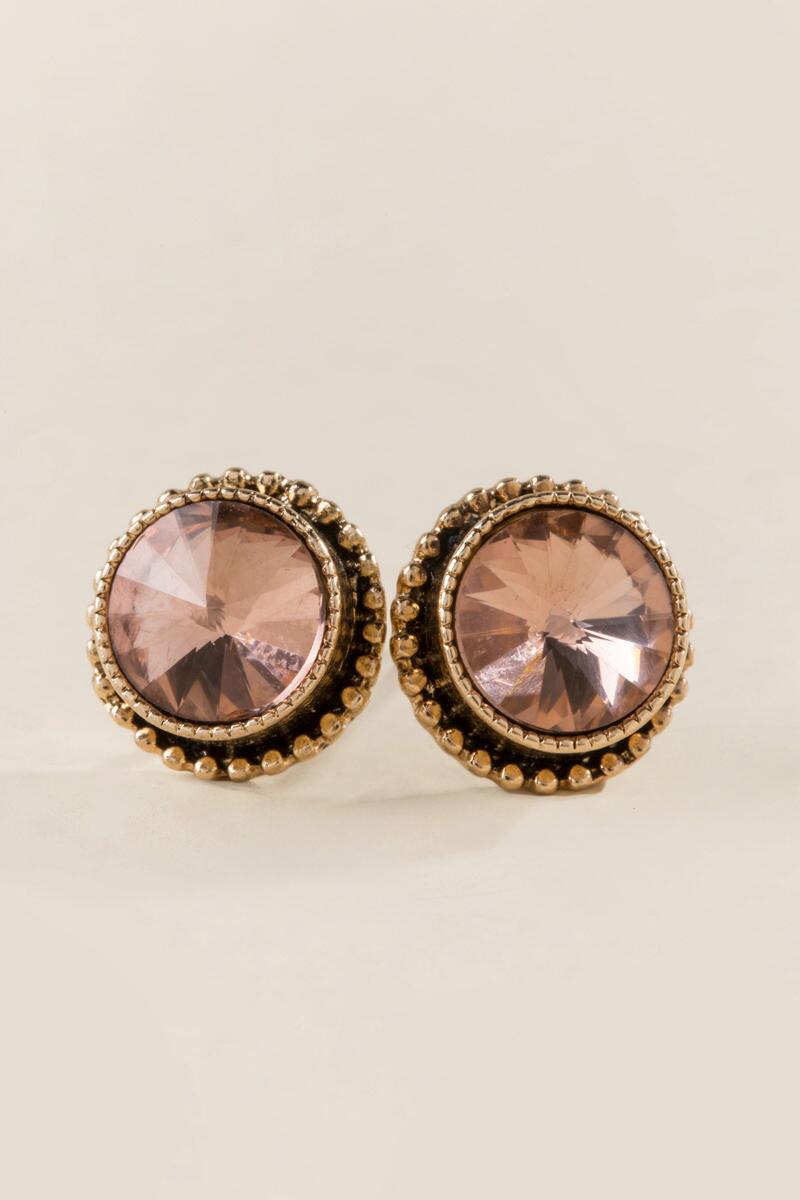 Floress Round Set Up Stud Earrings in Champagne-  cham-clalternate