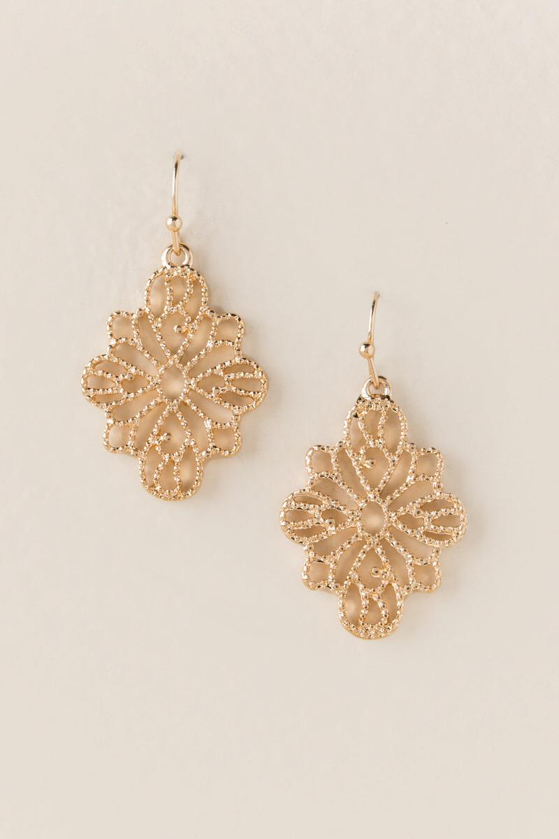 Priya Filigree Drop Earring-  gold-cl