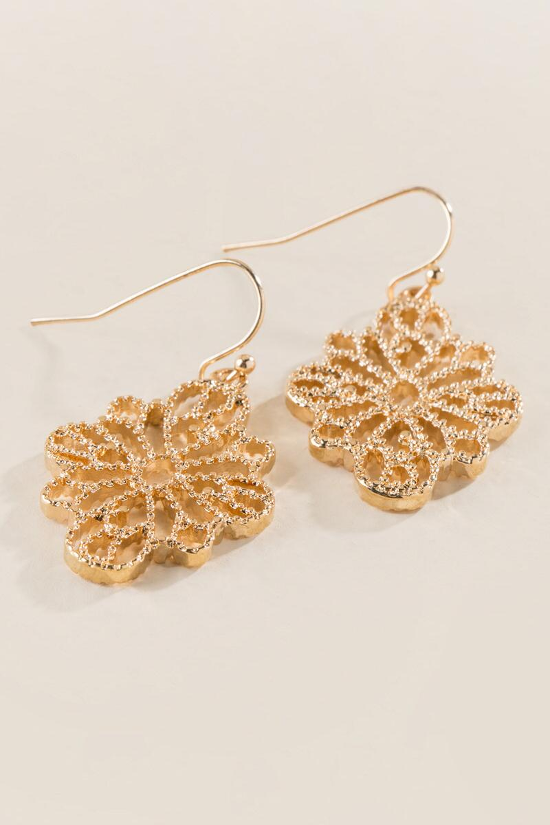 Priya Filigree Drop Earring-  gold-clalternate