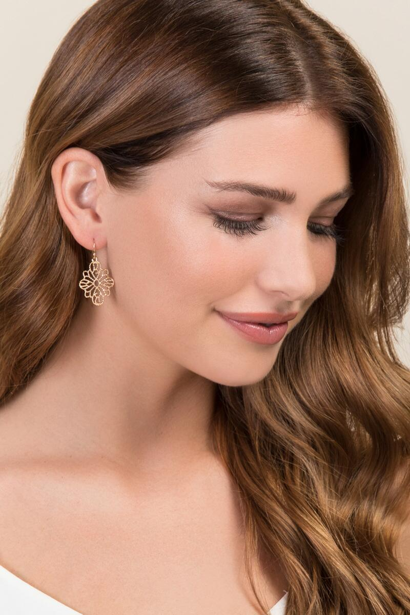 Priya Filigree Drop Earring-  gold-clmodel