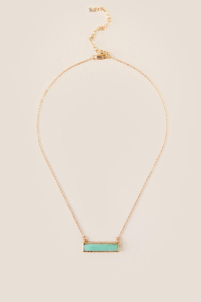 Robins Druzy Hammered Bar Necklace-  mint-cl