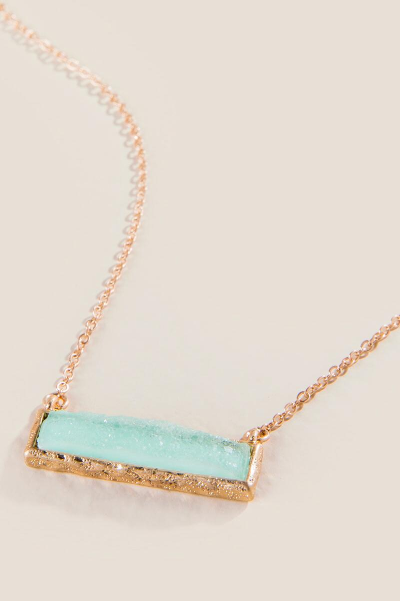 Robins Druzy Hammered Bar Necklace-  mint-clalternate
