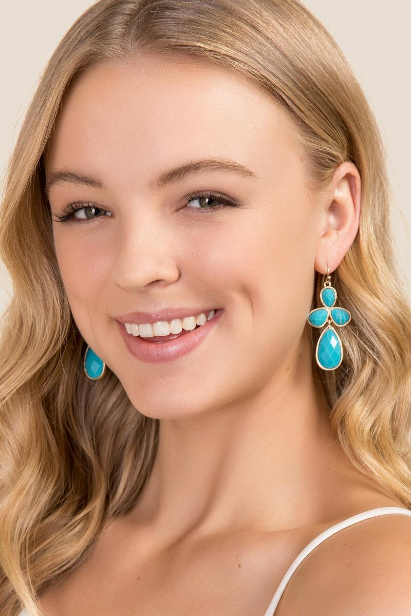 Madelyn Chandelier Earring In Turquoise-  turq-clmodel