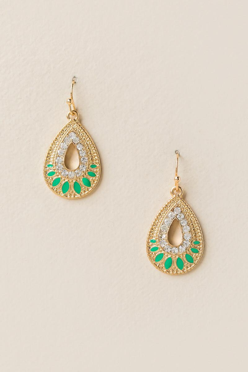 Jada Crystal Teardrop Earrings-  mint-cl