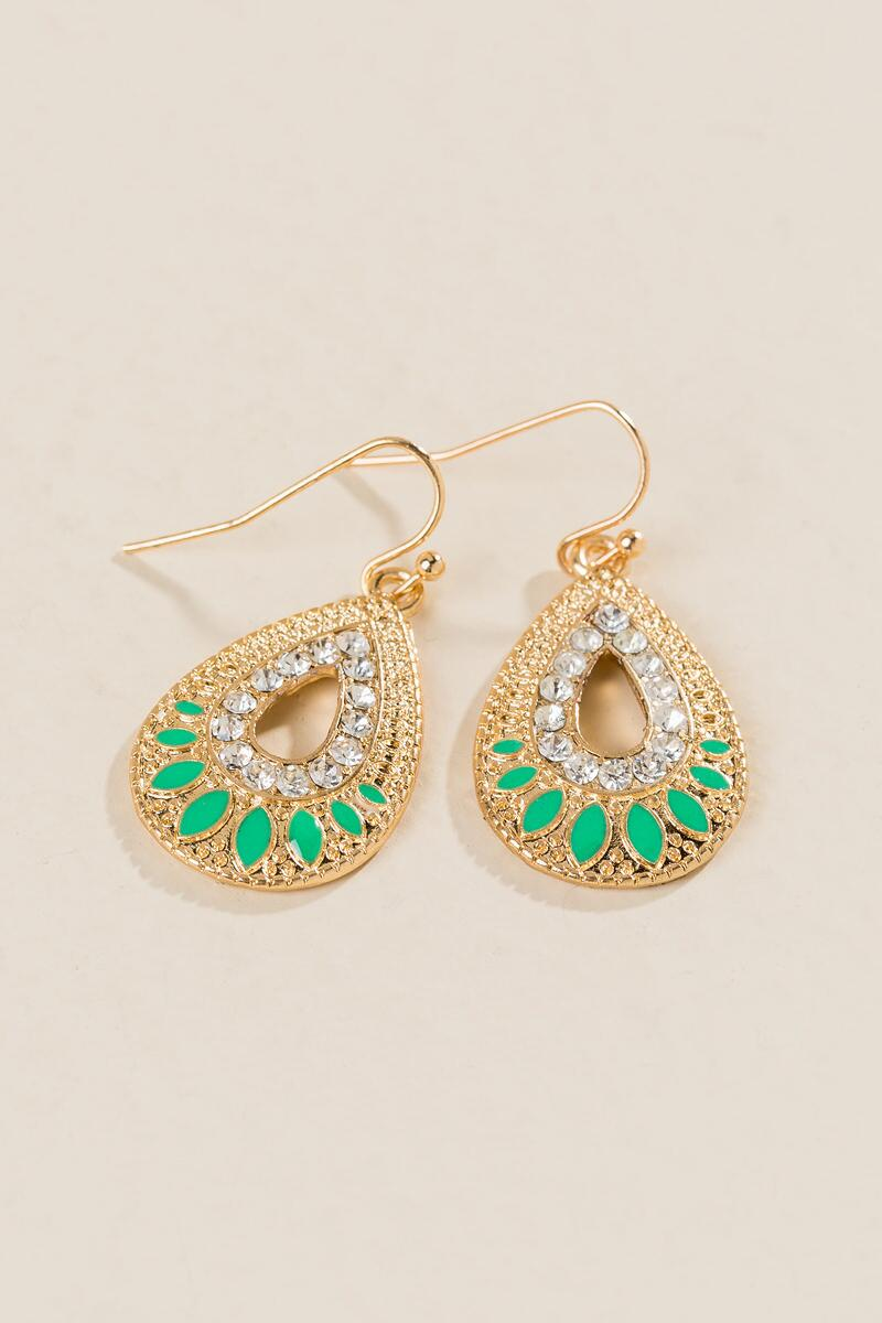 Jada Crystal Teardrop Earrings-  mint-clalternate