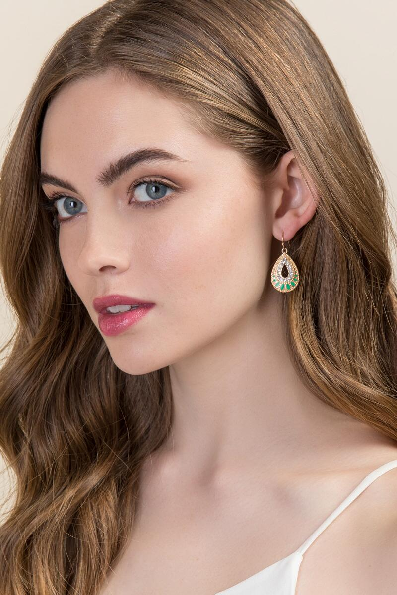 Jada Crystal Teardrop Earrings-  mint-clmodel