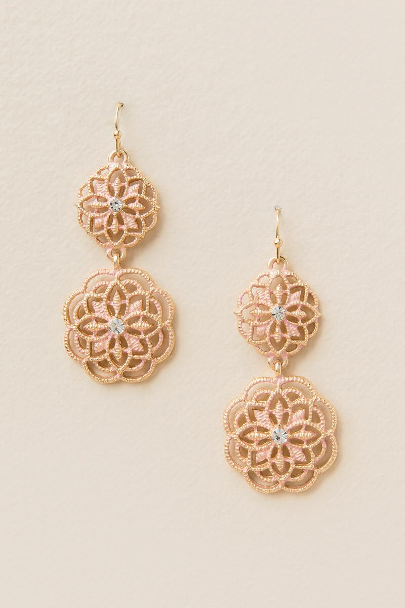Gabriella Filigree Drop Earring In Blush