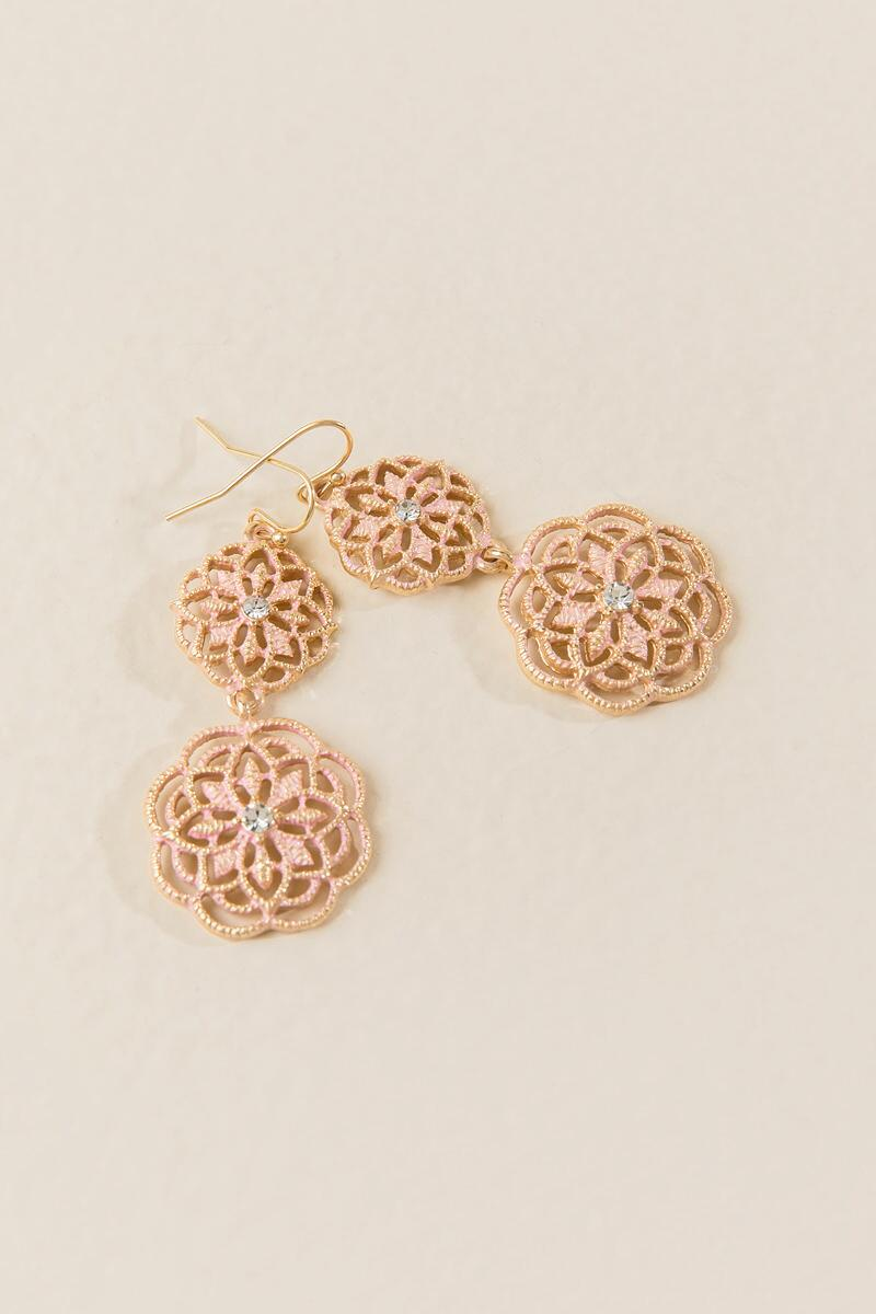 Gabriella Filigree Drop Earring In Blush-  blush-clalternate