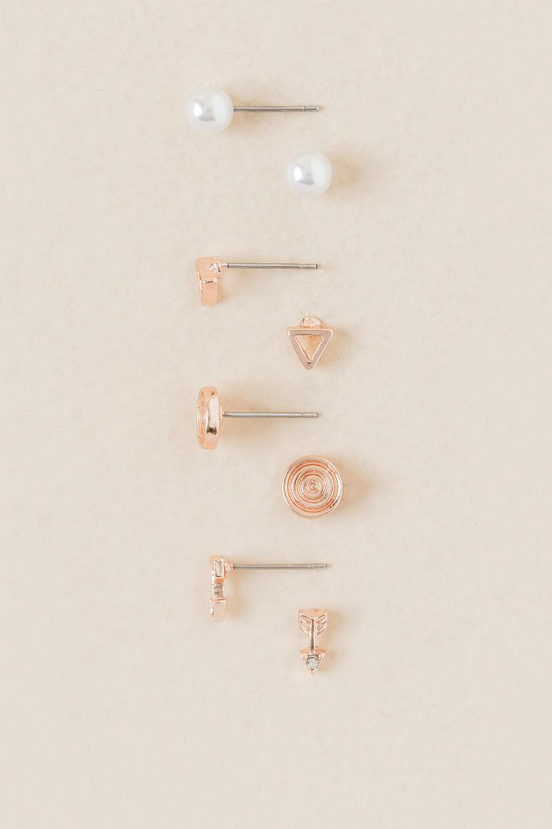 Moon Dreamcatcher Stud Earring Set In Rose Gold