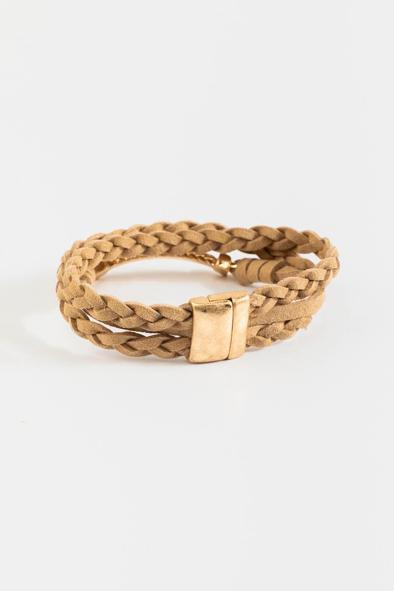 Olivia Braided Suede Wrap Bracelet- Taupe 3