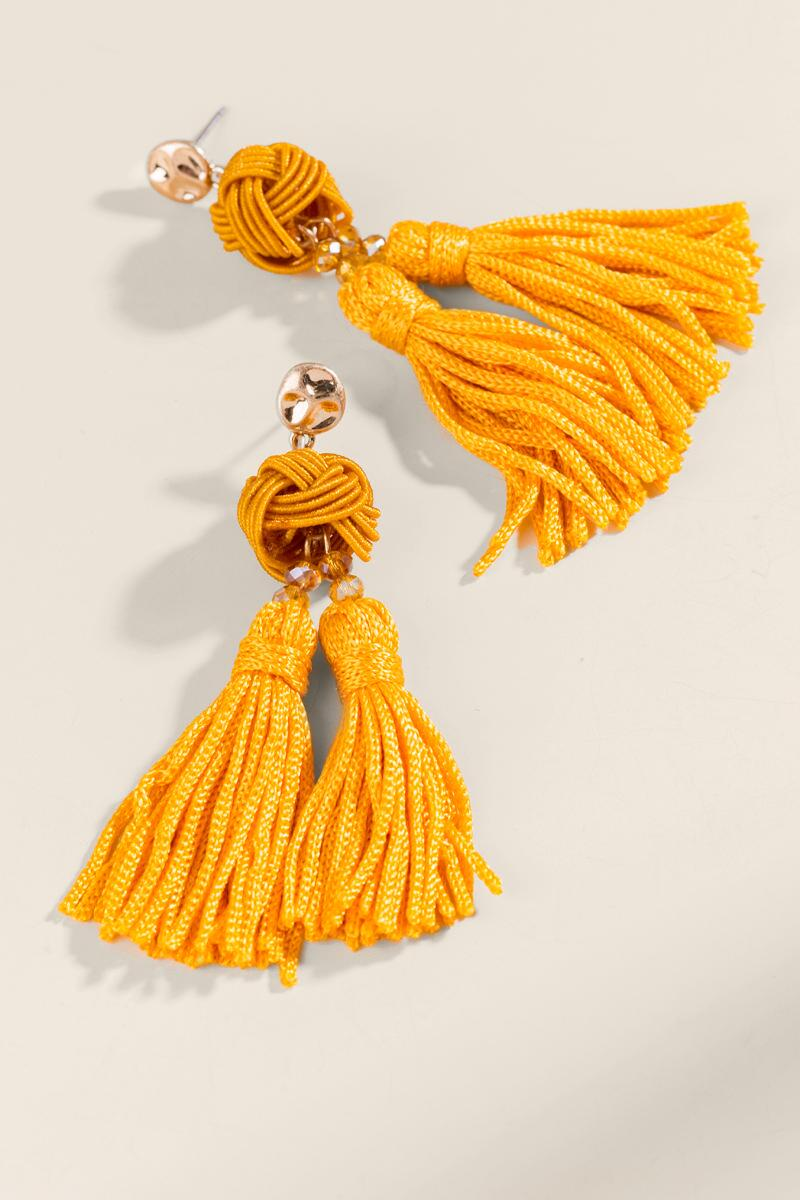 Jayden Double Tassel Drop Earrings-  musta-cl