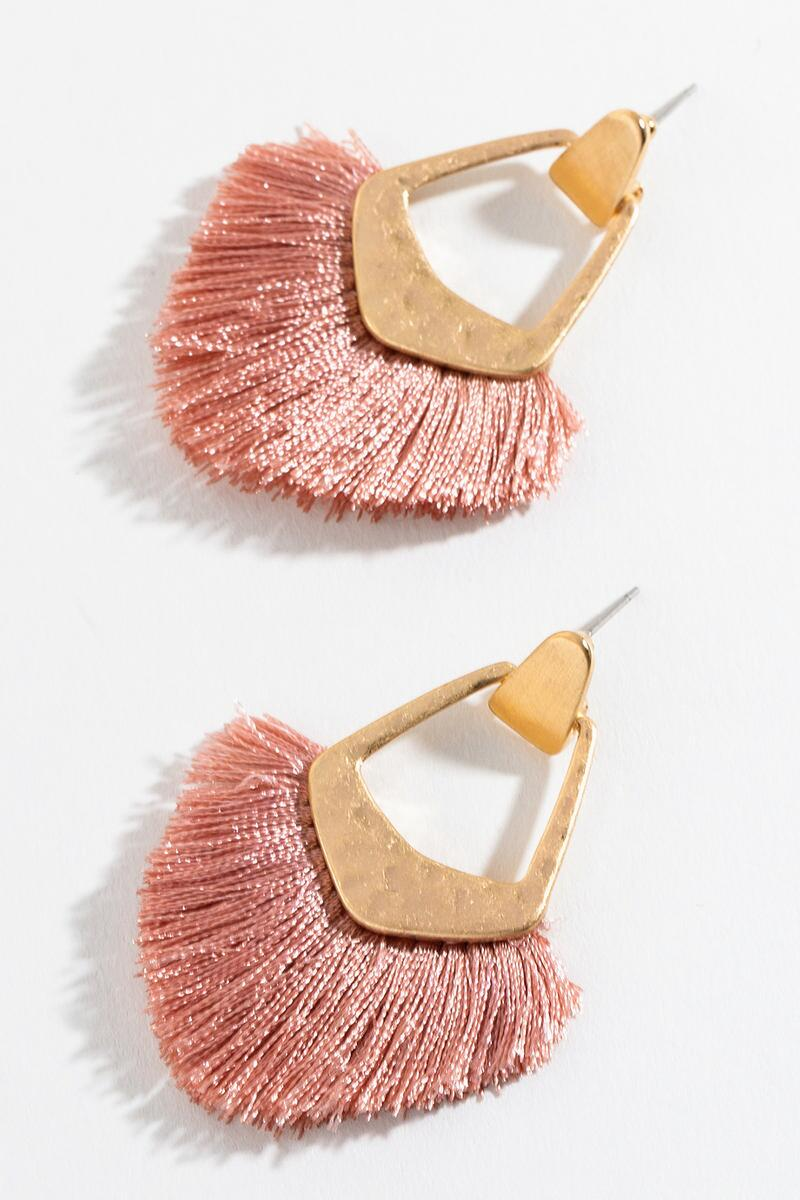 Kate Tassel Fan Earrings in Mauve-  mauv-cl