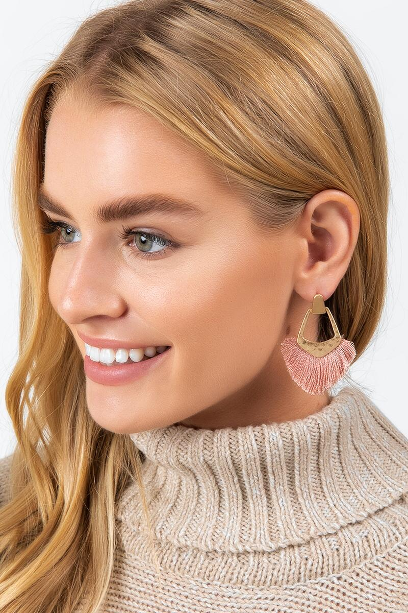 Kate Tassel Fan Earrings in Mauve-  mauv-cl2