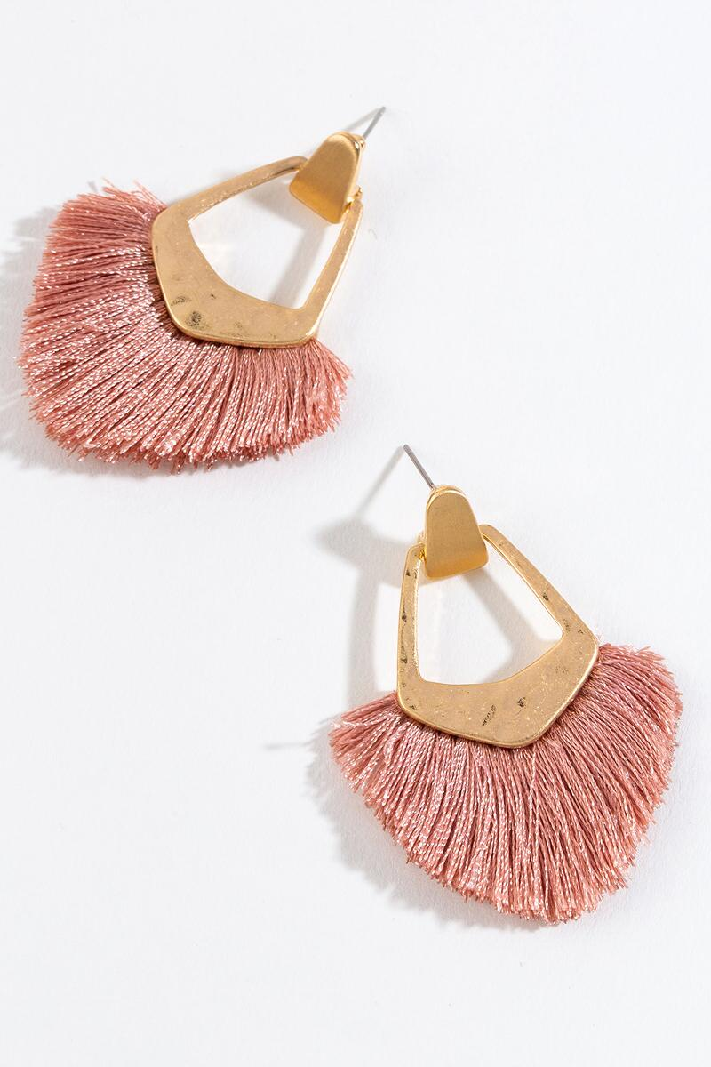 Kate Tassel Fan Earrings in Mauve-  mauv-cl3