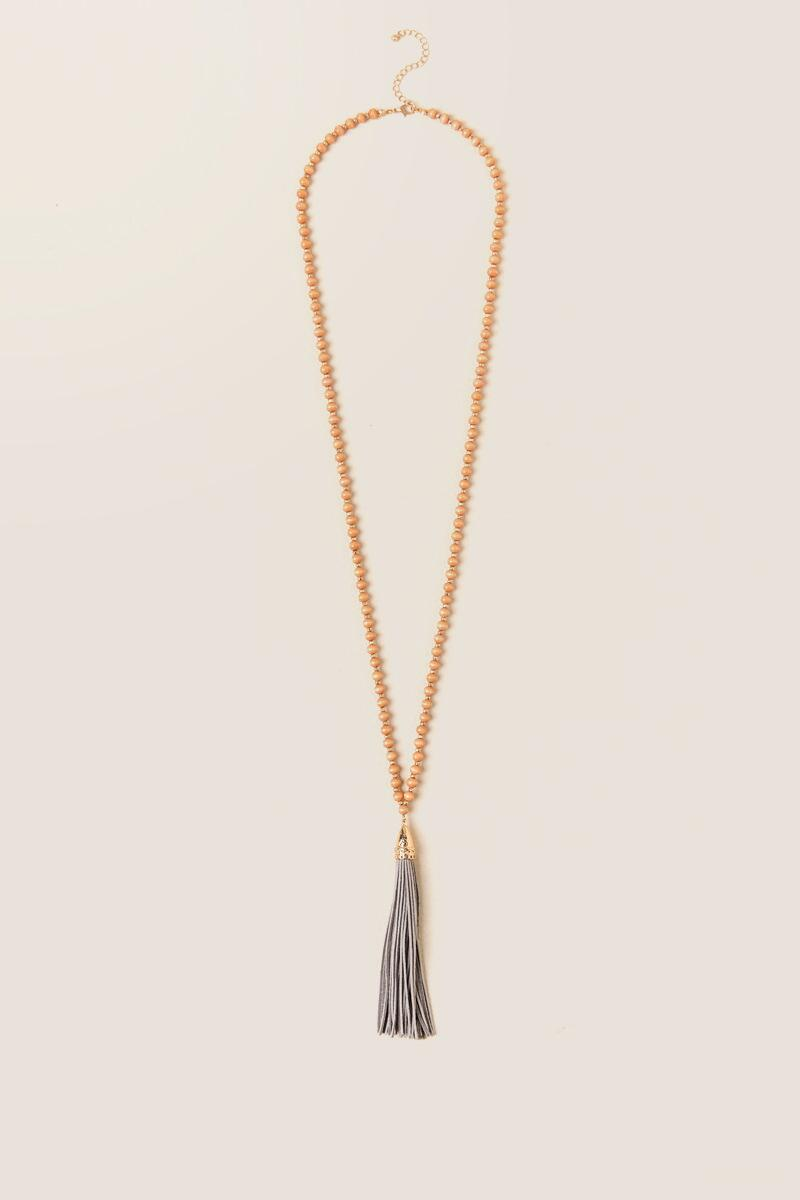 Nyla Wood Bead Tassel Necklace in Blush