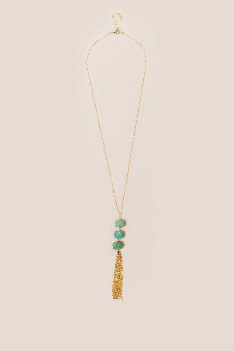 Tito Amazonite Stone Tassel Necklace