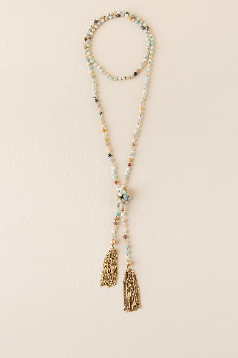 Valarie Semi-Precious Tassel Necklace