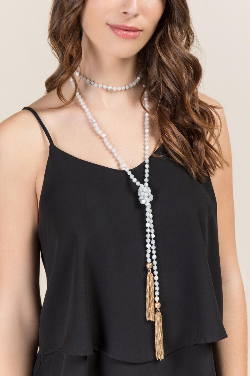 Quinn Howlite Wrap Necklace-  white-clmodel