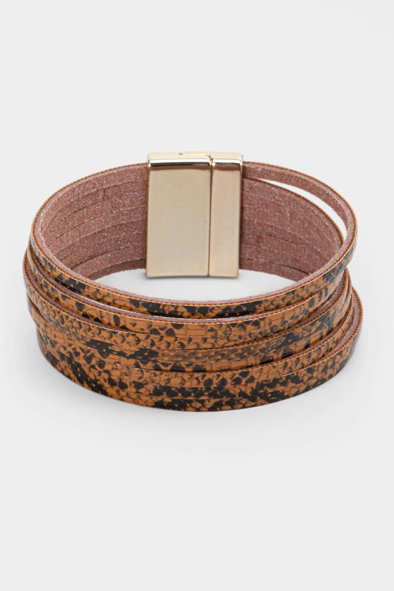 Kelsie Snake Print Leather Wrap Bracelet- Brown