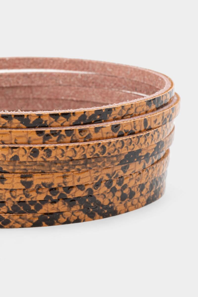Kelsie Snake Print Leather Wrap Bracelet- Brown 2