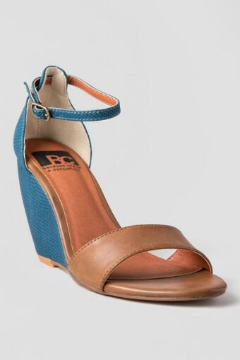 BC Footwear Shoes, Bounce Wedge Sandal in Navy & Tan