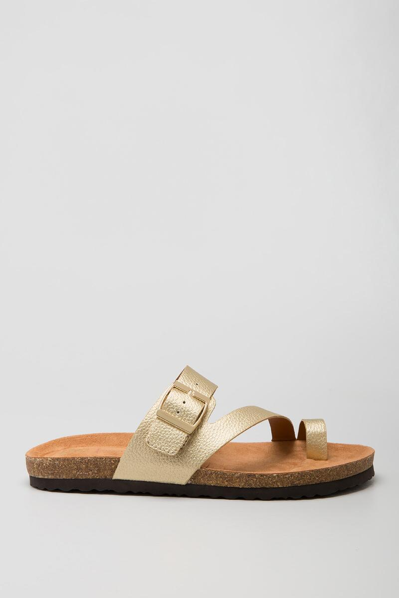 BC, Boxer Toe Ring Footbed-  gold-clright