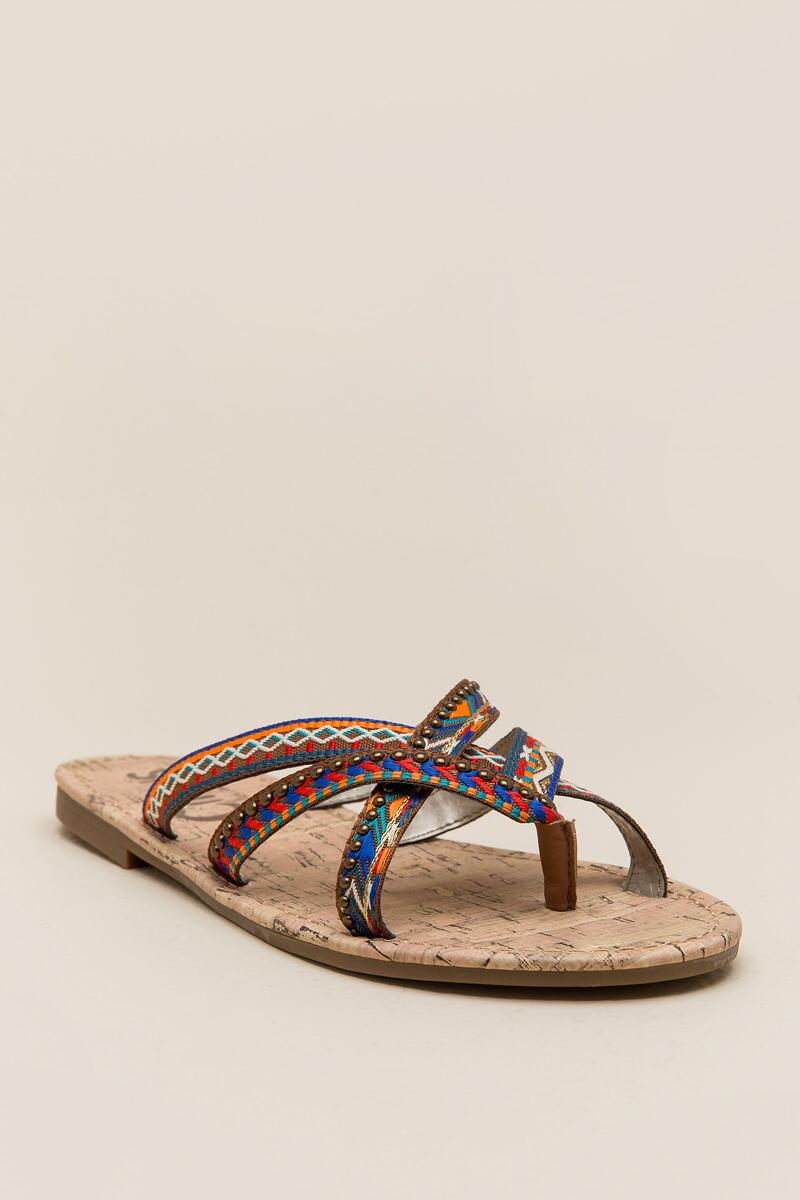 Circus by Sam Edelman Brooke Embroidered Thong Sandal-  cognc-cl