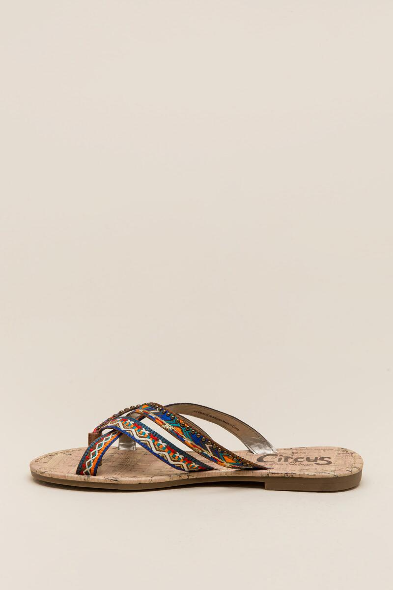 Circus by Sam Edelman Brooke Embroidered Thong Sandal-  cognc-clleft