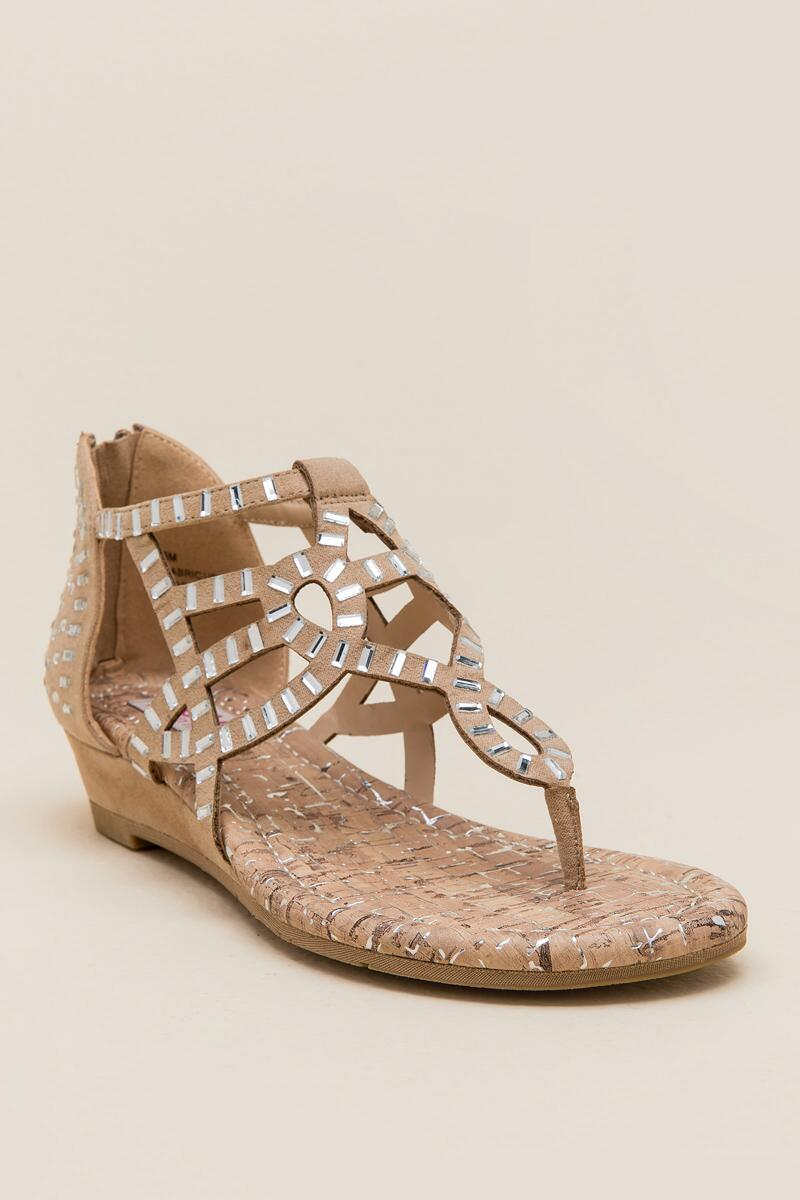 Candy Beaded Cutout Wedge Sandal