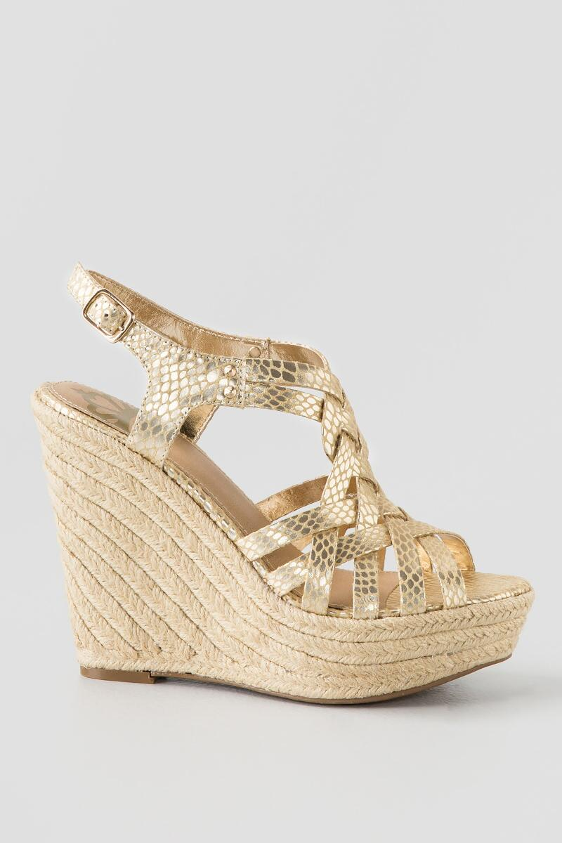 Fergalicious, Caprinni Espadrille Wedge-  gold-clright