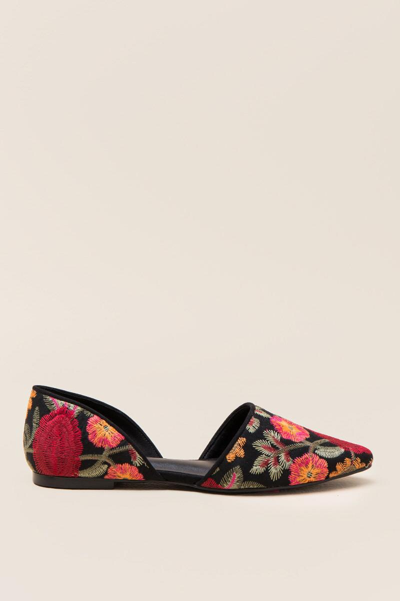 MIA Caroline Embroidered D'Orsay Flat-  blk-clright
