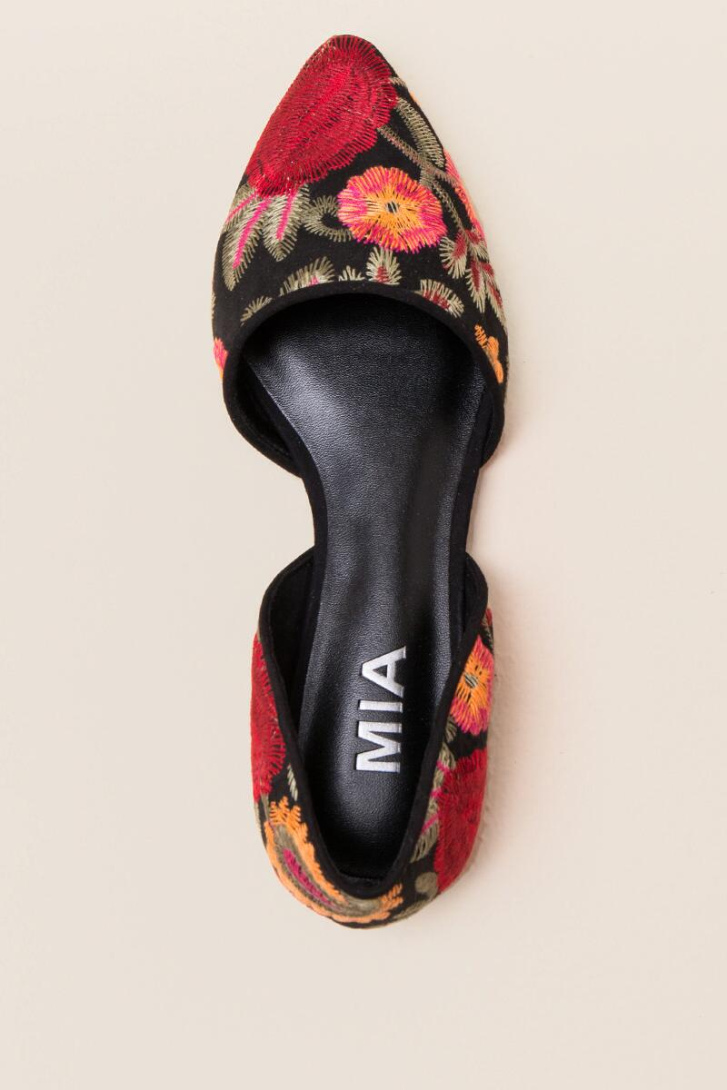 MIA Caroline Embroidered D'Orsay Flat-  blk-cltop