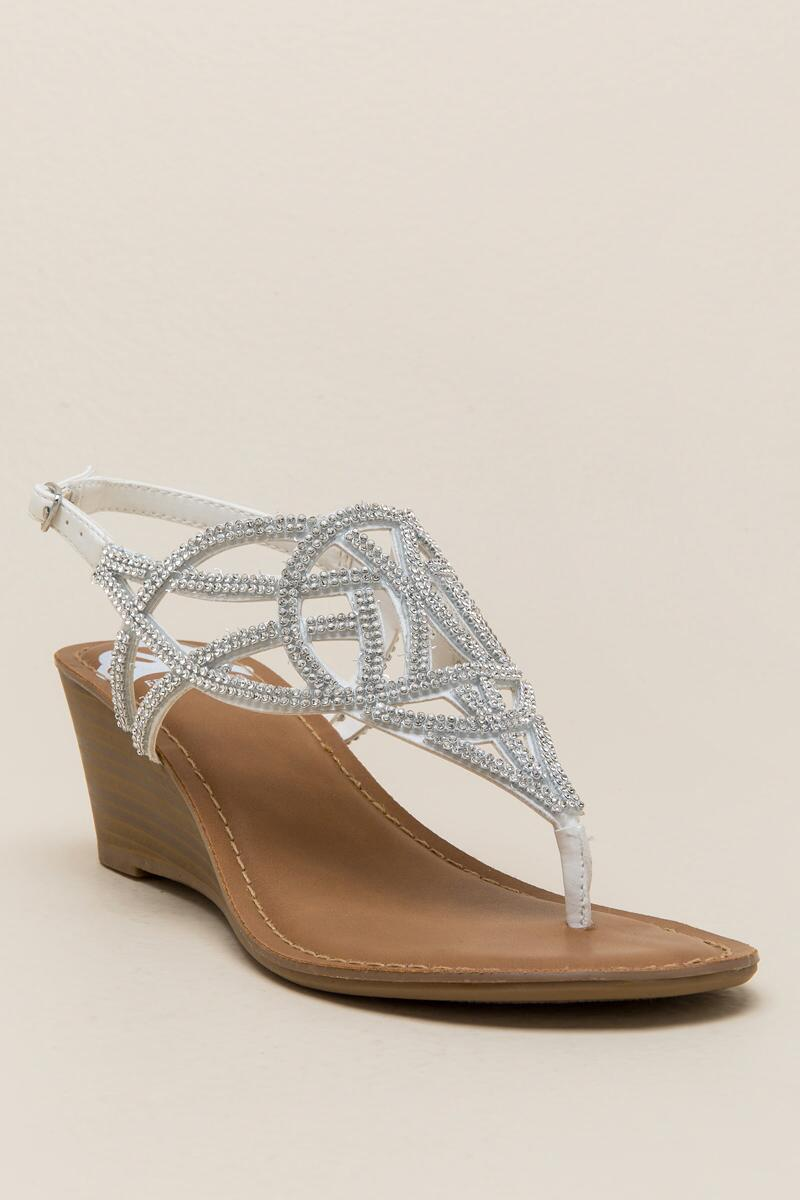 Fergalicious Charity Rhinestone Wedge-  white-cl