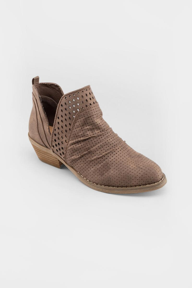 Report Delores Double Perforated Ankle Boot- Taupe
