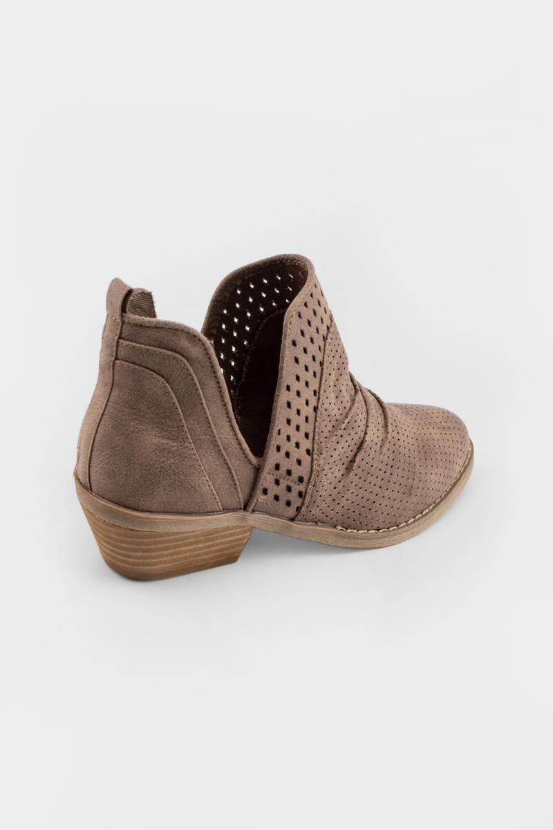 Report Delores Double Perforated Ankle Boot- Taupe 2