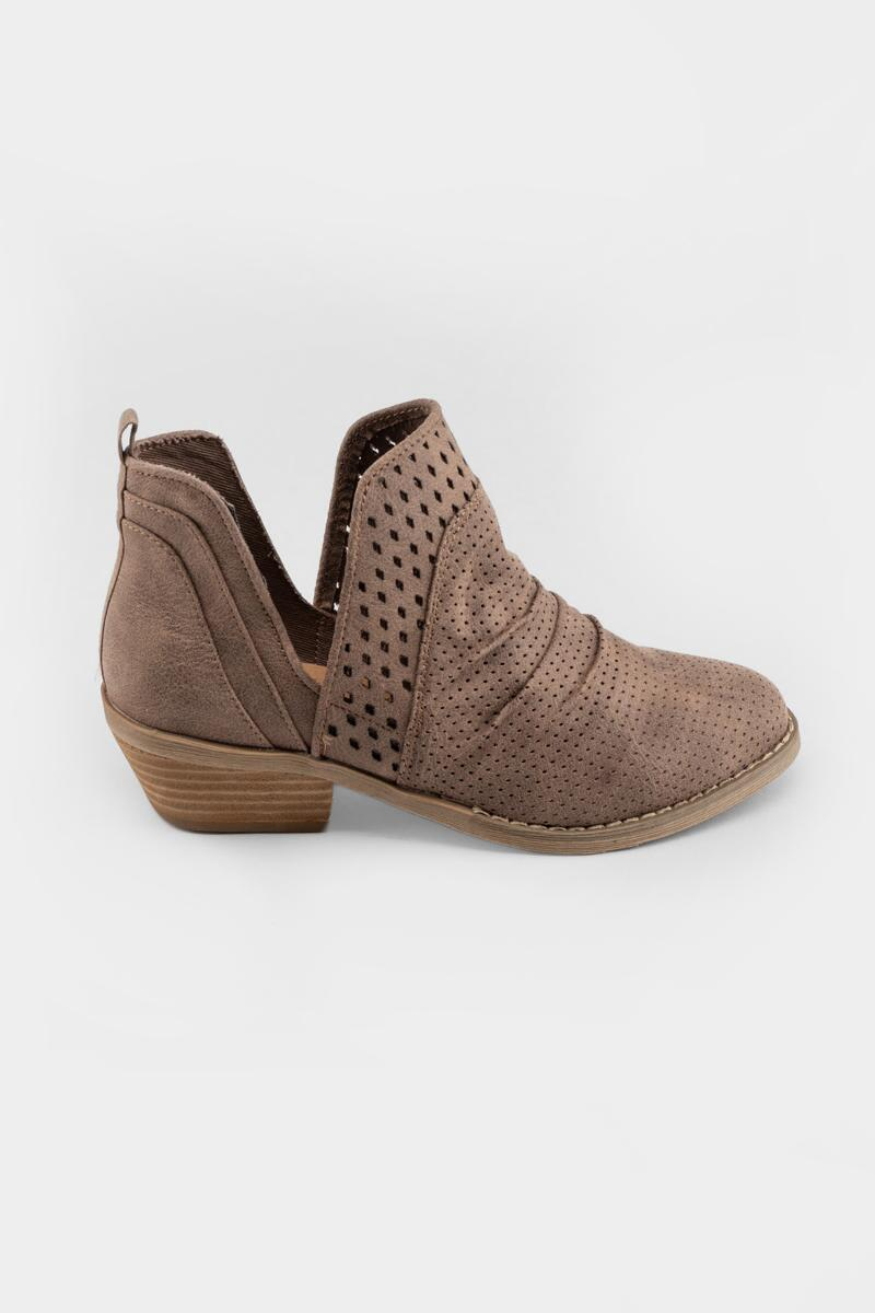 Report Delores Double Perforated Ankle Boot- Taupe 5