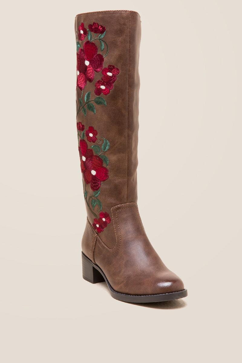 Denise Floral Embroidered Riding Boot