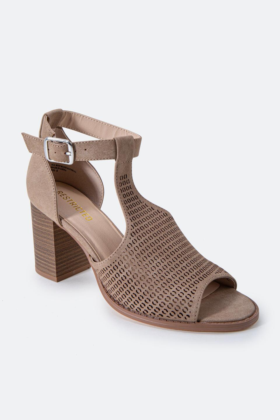 Restricted Fayla Perforated Heeled Sandal- Taupe