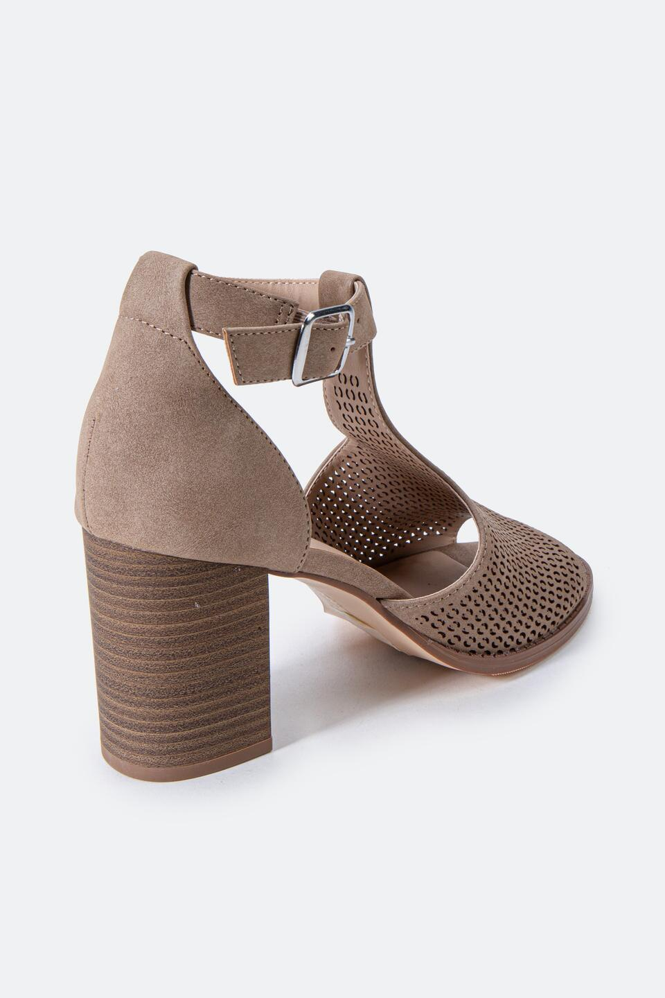 Restricted Fayla Perforated Heeled Sandal- Taupe 2