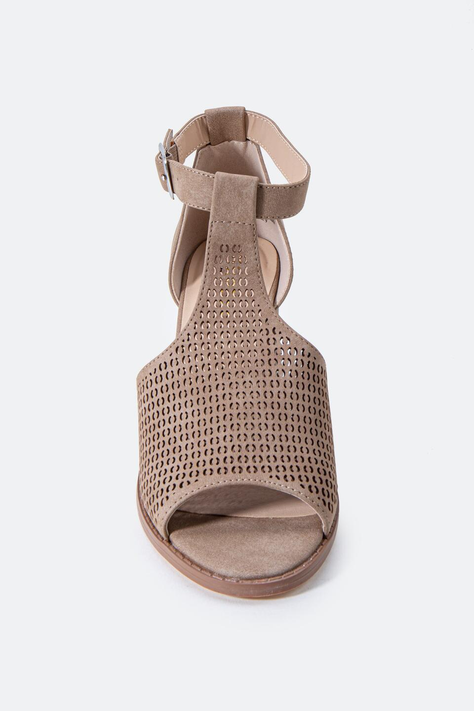 Restricted Fayla Perforated Heeled Sandal- Taupe 3