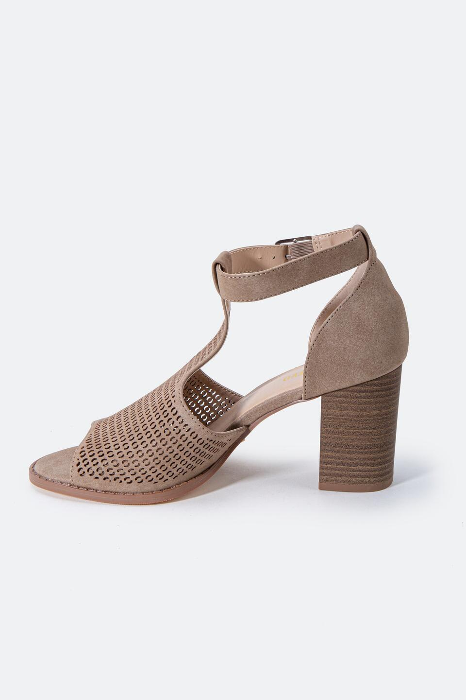 Restricted Fayla Perforated Heeled Sandal- Taupe 4
