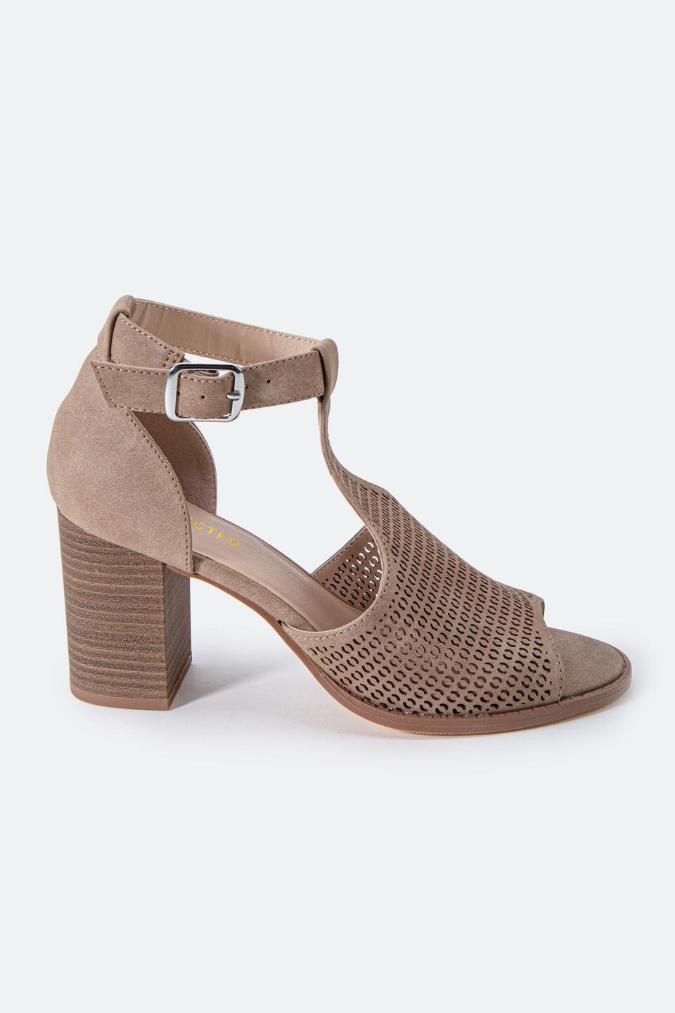 Restricted Fayla Perforated Heeled Sandal- Taupe 5