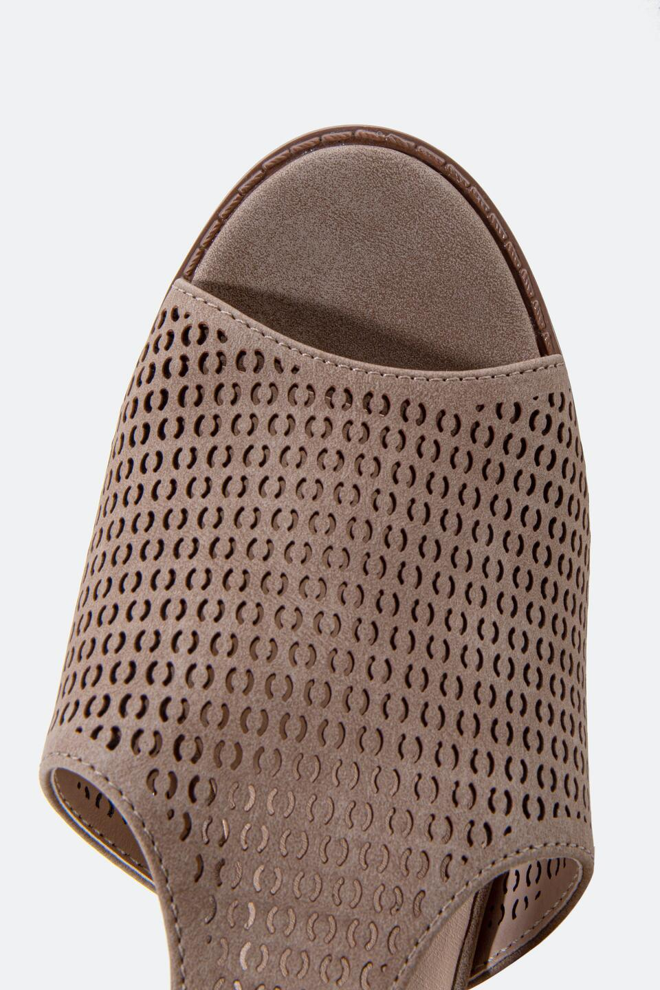 Restricted Fayla Perforated Heeled Sandal- Taupe 6